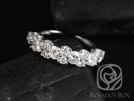 Rosados Box DIAMOND FREE Hazel 14kt White Gold F1 Moissanite Floral Crown HALFWAY Eternity Band