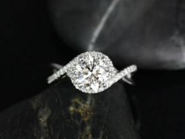 SALE Rosados Box Ready to Ship Maritza 7mm 14kt White Gold Round FB Moissanite and Diamonds Halo Twist Engagement Ring