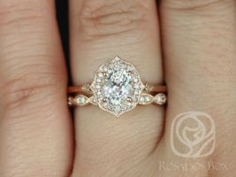 Rosados Box Ready to Ship Mae 1.53cts & Christie 14kt Rose Gold Peach Champagne Sapphire and Diamond Halo Wedding Set