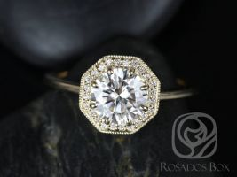 Rosados Box Winona 7mm 14kt Yellow Gold Round F1- Moissanite and Diamonds Octagon Halo WITH Milgrain Engagement Ring