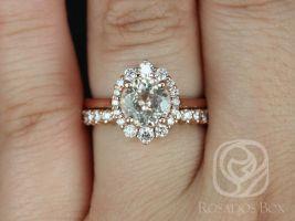 Rosados Box Ready to Ship Eluma 2.00cts 14kt Rose Gold Round Peach Champagne Sapphire and Diamonds Shield Graduated Halo Wedding Set
