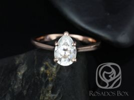 Rosados Box DIAMOND FREE Skinny Jane 9x6mm 14kt Rose Gold Pear F1- Moissanite Tulip Cathedral Solitaire Engagement Ring