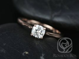 SALE Rosados Box Ready to Ship Skinny Florence 5mm 14kt Rose Gold Cushion FB Moissanite Tulip Cathedral Solitaire Engagement Ring