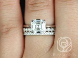 Rosados Box Skinny Denise 8mm, Petite Bubbles, & Pernella  14kt White Gold Asscher F1- Moissanite and Diamonds Cathedral TRIO Wedding Set