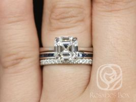 Rosados Box Skinny Denise 8mm, Judy, & Pernella  14kt White Gold Asscher F1- Moissanite, Sapphire and Diamonds Cathedral TRIO Wedding Set