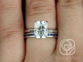 Rosados Box DIAMOND FREE Skinny Nancy 9x7mm & Judy 14kt White Gold Radiant F1- Moissanite and Blue Sapphire Wedding Set