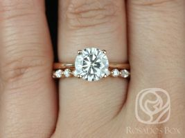 Rosados Box Skinny Flora 8mm &Cher 14kt Rose Gold Round F1- Moissanite and Diamond Tulip Cathedral Solitaire Wedding Set