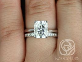 Rosados Box Skinny Nancy 9x7mm & Charlene 14kt White Gold Radiant F1- Moissanite and Diamonds Wedding Set