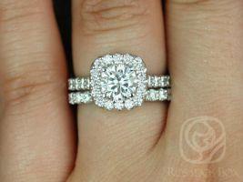 SALE Rosados Box Ready to Ship Trisha 6.5mm 14kt White Gold Round FB Moissanite and Diamonds Cushion Halo Wedding Set