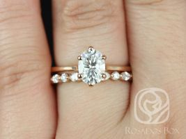 Rosados Box Skinny Lexus 8x6mm & Cher 14kt Rose Gold Oval F1- Moissanite and Diamond Six-Prong Cathedral Solitaire Wedding Set