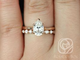 Rosados Box Skinny Jane 9x6mm & Cher 14kt Rose Gold Pear F1- Moissanite and Diamonds Tulip Cathedral Solitaire Wedding Set