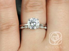 Rosados Box Sandra 8mm & Ultra Petite Leah 14kt White Gold Round F1- Moissanite and Diamond Non-Cathedral Wedding Set