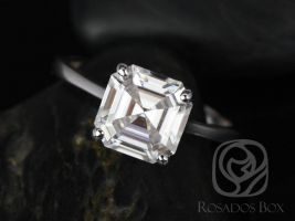 Rosados Box Skinny Denise 8mm 14kt White Gold Asscher F1- Moissanite Tulip Cathedral Solitaire Engagement Ring