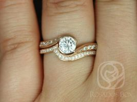 SALE Rosados Box Ready to Ship Odala 5.5mm 14kt Rose Gold Round FB Moissanite and Diamonds Twisted Classic Wedding Set