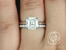 Rosados Box Skinny Denise 8mm & Tiffani 14kt White Gold Asscher F1- Moissanite and Diamonds Tulip Cathedral Solitaire Wedding Set