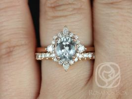 Rosados Box Ready to Ship Maris 2.12cts 14kt Rose Gold Oval Blush Champagne Sapphire and Diamonds Star Halo Wedding Set