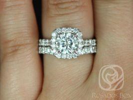 SALE Rosados Box Ready to Ship Trisha 7mm 14kt White Gold Round FB Moissanite and Diamonds Cushion Halo Wedding Set