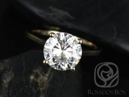 SALE Rosados Box Ready to Ship Esther 9mm 14kt Yellow Gold Round F1- Moissanite Classic Thin Skinny Engagement Ring