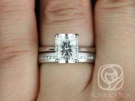 Rosados Box Skinny Nancy 9x7mm & Oona 14kt White Gold Radiant F1- Moissanite and Diamonds Wedding Set