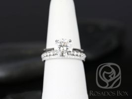 SALE Rosados Box Ready to Ship Skinny Flora 8.5mm, Petite Naomi & Kimberly 14kt FB Moissanite and Diamonds TRIO Wedding Set