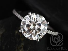 SALE Rosados Box Ready to Ship Eloise 10mm 14kt ROSE Gold Round FB Moissanite and Diamonds Cathedral Engagement Ring