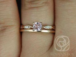 Rosados Box Ready to Ship Ember 0.44cts & PLAIN Romani 14kt Rose Gold Cushion Peach Champagne Sapphire and Diamonds Wedding Set