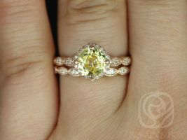 Rosados Box Ready to Ship Katya 2.06cts 14kt Rose Gold Sunny Yellow Sapphire and Diamonds Kite Cushion Halo WITH Milgrain Wedding Set