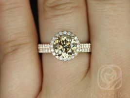 Rosados Box Ready to Ship Conflict Free Kubian 2.03cts 14kt Rose Gold Round Cognac Champagne Diamond Halo Wedding Set