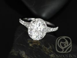 Rosados Box Clarise 9x7mm 14kt White Gold Oval F1- Moissanite and Diamond Split Band Halo Engagement Ring