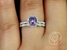 Rosados Box Ready to Ship Federella & Christie 1.17cts 14kt White Gold Oval Lilac Purple Sapphire Diamond Halo Wedding Set