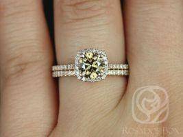 Rosados Box Ready to Ship Samina 1ct 14kt Rose Gold Honey Champagne Cognac Diamond Cushion Halo Wedding Set