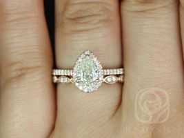 Rosados Box Ready to Ship Conflict Free Tabitha 0.76cts & Christie 14kt Rose Gold Diamonds Wedding Set