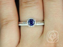 Rosados Box Ready to Ship Amerie 0.52ct & Amanda 14k White Gold Blue Sapphire and Diamonds Wedding Set