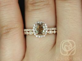 Rosados Box Ready to Ship Conflict Free Rebecca 1.51ct & Gwen 14kt Rose Gold Oval Cocoa Cognac Diamond Halo Wedding Set