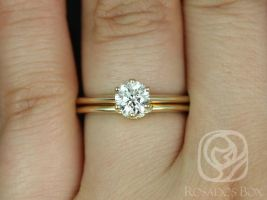Rosados Box Ready to Ship Conflict Free Skinny Webster 0.70cts Diamond 14kt Yellow Gold Six-Prong With Luna Horseshoe Wedding Set