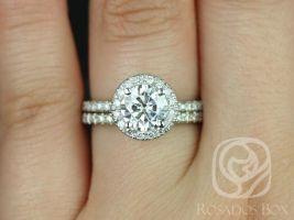 Ready to Ship Rosados Box Callie 6.5mm 14kt White Gold Thin Round F1- Moissanite and Diamonds Halo Wedding Set