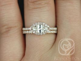 Rosados Box Ready to Ship Conflict Free Jones 0.63cts 14kt Rose Gold Marquise Diamond Halo Wedding Set