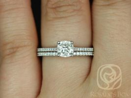 Rosados Box Ready to Ship Conflict Free Marcelle 0.73ct 14kt White Gold Cushion Diamond Cathedral Classic Wedding Set