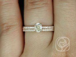 Rosados Box Ready to Ship Conflict Free Darcy 0.45cts 14kt Rose Gold Oval Diamond Classic Wedding Set