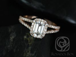SALE Rosados Box Ready to Ship Yessi 7x5mm 14kt YELLOW Gold Emerald FB Moissanite and Diamonds Split Band Halo Engagement Ring