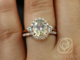 Rosados Box Ready to Ship Britney 4.74cts 14kt Rose Gold Oval Champagne Zircon and Diamonds Halo Wedding Set