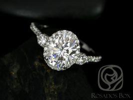 Natalia 9x7mm 14kt White Gold Oval F1- Moissanite and Diamonds Halo Engagement Ring