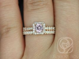 Rosados Box Ready to Ship Mikena 0.65cts 14kt Rose Gold Round Peach Sapphire & Diamond Cushion Halo Wedding Set