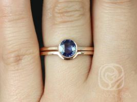 Rosados Box Ready to Ship Ida 0.88cts 14kt Rose Gold Round Rose Cut Blue Sapphire WITH Milgrain Bezel Wedding Set