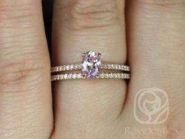 Rosados Box Ready to Ship Blake 0.76cts 14kt Rose Gold Icy Blush Lavender Peach Sapphire Cathedral Engagement Ring & Wedding Set w/ Diamonds