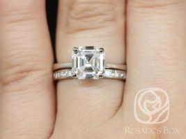 Rosados Box Skinny Denise 8mm & Charlene 14kt White Gold Asscher F1- Moissanite and Diamonds Tulip Cathedral Solitaire Wedding Set