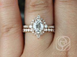 Rosados Box Jadis 8x6mm 14kt Rose Gold Oval F1- Moissanite and Diamonds Star Halo Wedding Set