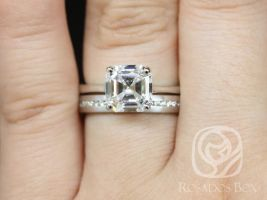 Rosados Box Skinny Denise 8mm & Oona 14kt White Gold Asscher F1- Moissanite and Diamonds Tulip Cathedral Solitaire Wedding Set