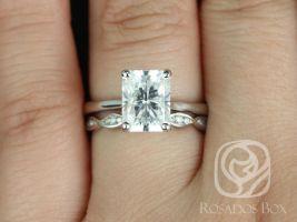 Rosados Box Skinny Nancy 9x7mm & Ember 14kt White Gold Radiant F1- Moissanite and Diamonds Wedding Set