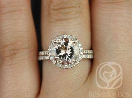 Rosados Box Ready to Ship Kubian 9mm Size 14kt WHITE Gold Round Morganite and Diamonds Halo Wedding Set